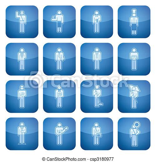 Cobalt Square 2D Icons Set: Occupation - csp3180977