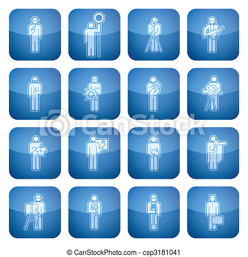 Cobalt Square 2D Icons Set: Occupation - csp3181041