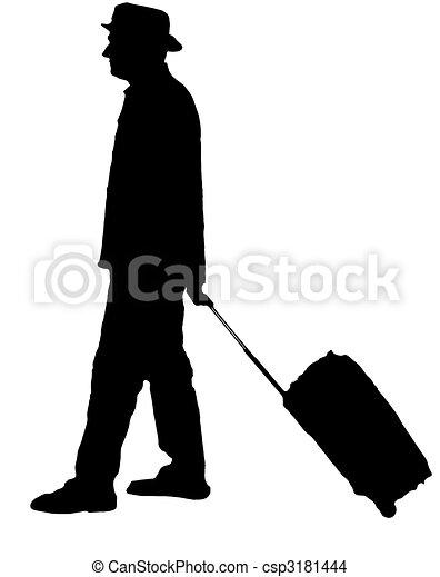 dessin de voyageur  homme  silhouette  porter  chariot Luggage Clip Art Set Clip Art Black and White Luggage