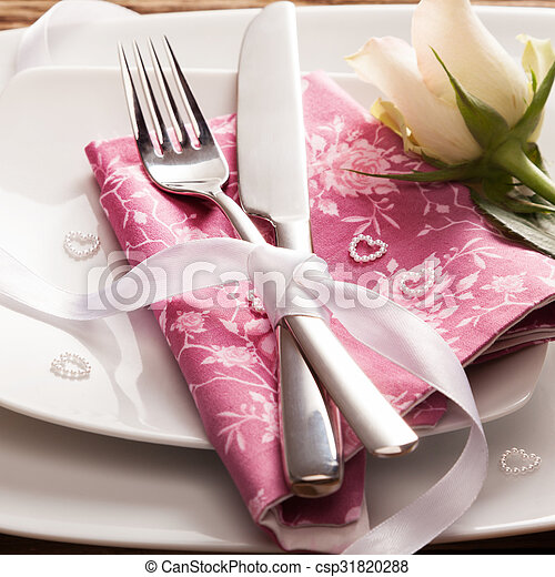 Romantic Place Setting with White Rose - csp31820288