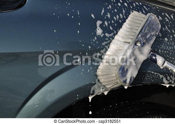 photographies de voiture lavage frotter brosse lavage voiture csp3182551. Black Bedroom Furniture Sets. Home Design Ideas