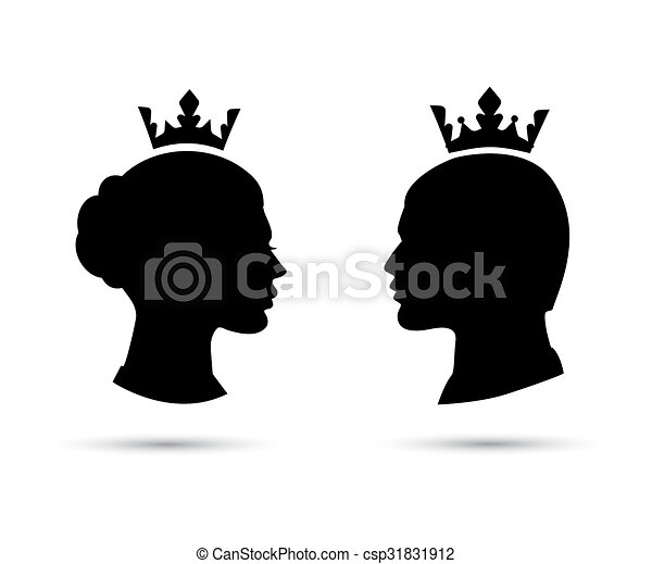 Clip Art King And Queen Clipart vector clip art of king and queen heads face silhouette