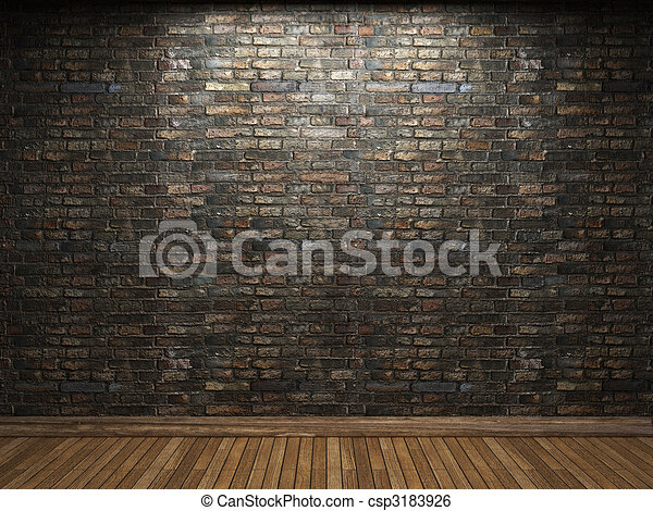 illuminated brick wall  - csp3183926