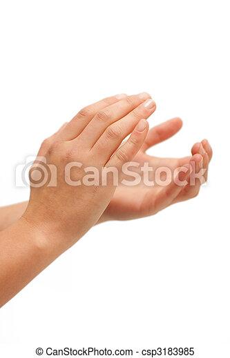 Images de applaudissement, clap, femme, mains, applaudir, blanc, fond ...