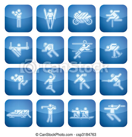 Cobalt Square 2D Icons Set: Sport - csp3184763