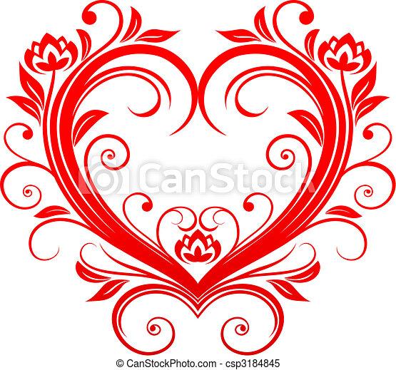 Clipart Vector van hart, valentijn - rood, valentijn, hart ...