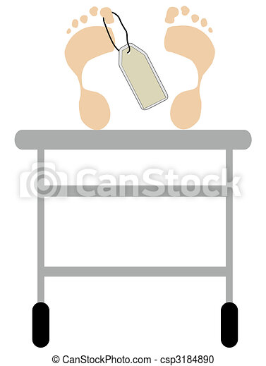 footprints with toe tag on a hospital gurney table - csp3184890
