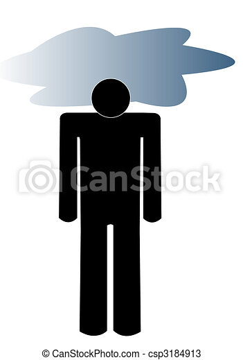 man with dark cloud over his head - concept of depression - csp3184913