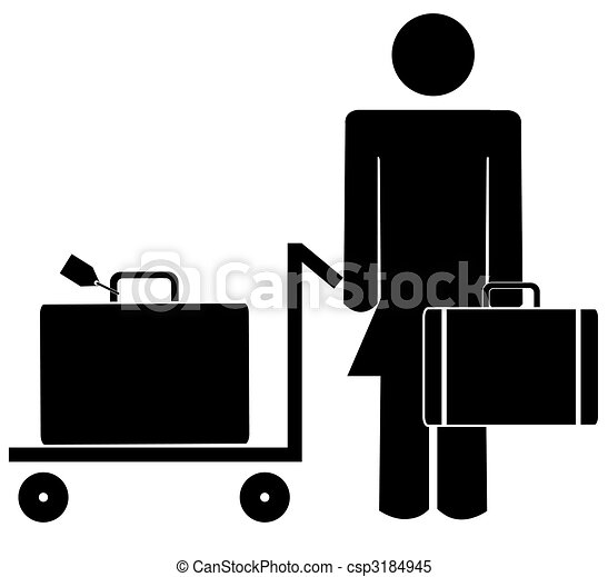 stick woman or figure with briefcase and luggage - csp3184945