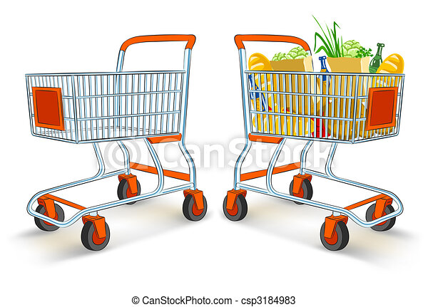 full and empty shopping carts from supermarket store - csp3184983