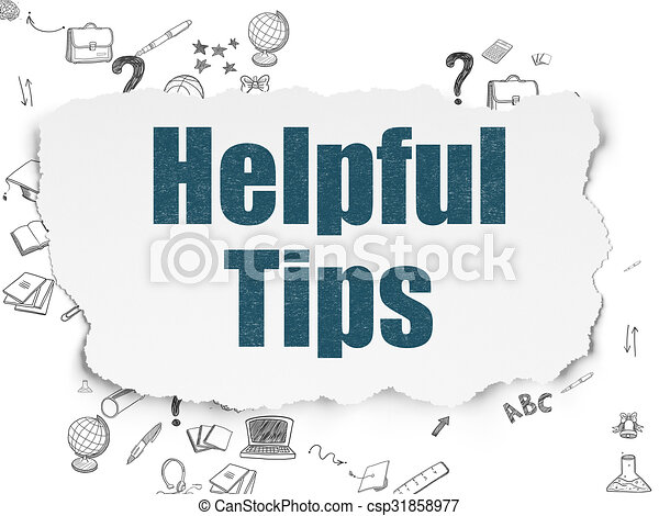 Education concept: Helpful Tips on Torn Paper background