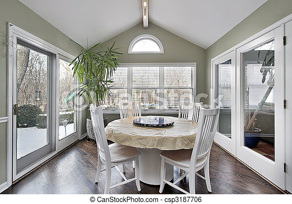Eating area with doors to patio - csp3187706