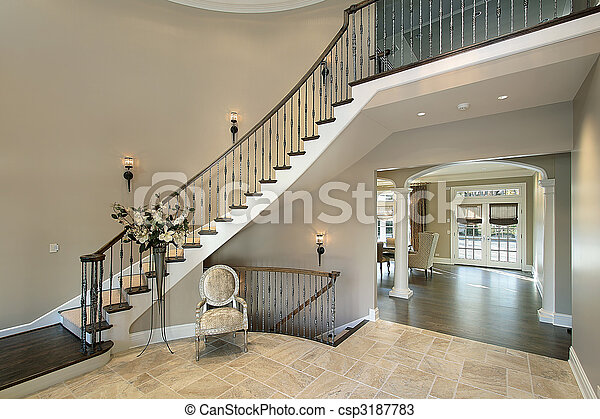 Foyer with curved staircase - csp3187783