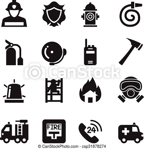 Fire Department icons  Vector Illustration - csp31878274
