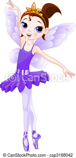 (Rainbow colors ballerinas series). Violet Ballerina - csp3188042