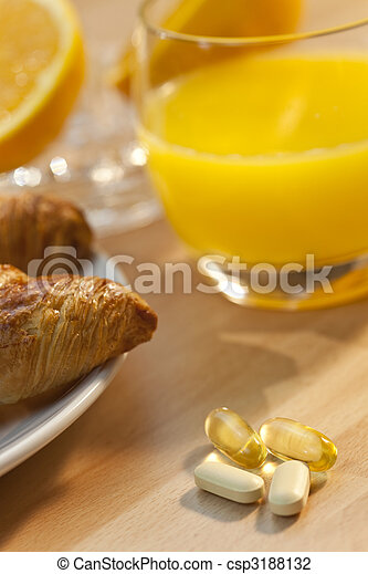 Healthy Continental Breakfast Croissant Orange Juice, Vitamin an - csp3188132