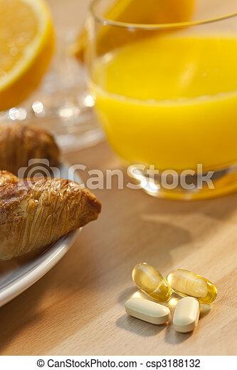 Healthy Continental Breakfast Croissant Orange Juice, Vitamin an - csp3188132