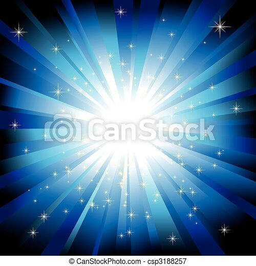 Blue light burst with sparkling stars - csp3188257