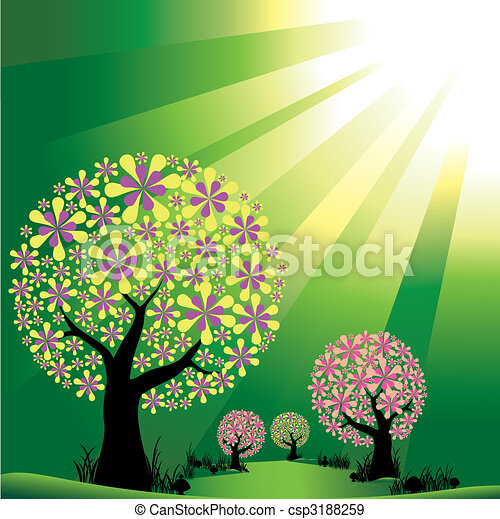 Abstract trees on green burst light background - csp3188259