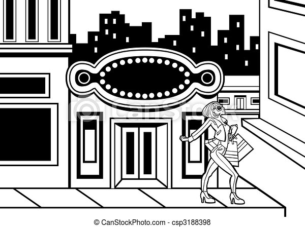 Shopping Downtown Girl Line Art - csp3188398