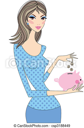 woman with piggy bank - csp3188449