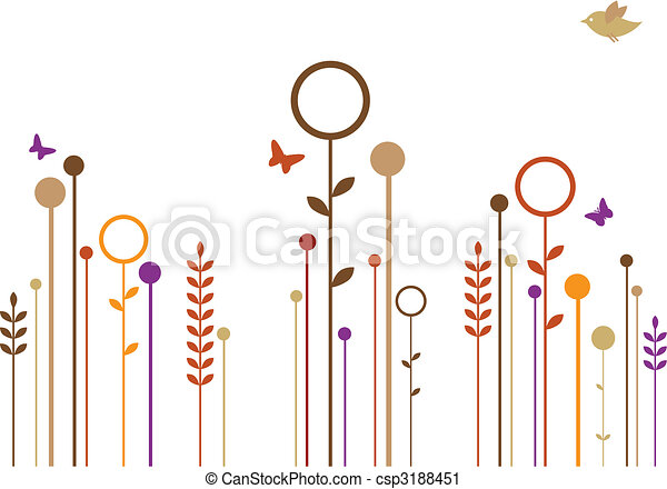 simple flowers, vector - csp3188451