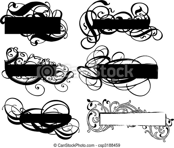 black banner, vector - csp3188459