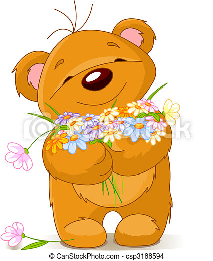 Teddy bear giving a bouquet - csp3188594