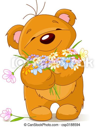 Teddy bear giving a bouquet - csp3188594