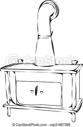 wood burning stove - csp31887386