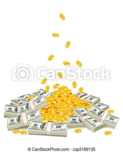 golden coins dropping down on pile of dollar packs - csp3189135
