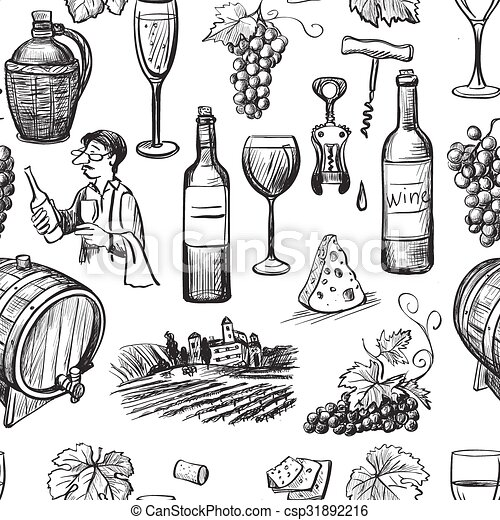 Vector Clip Art of Hand drawn pattern of wine making. Wine objects ...