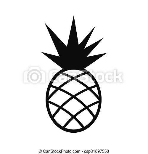 Clipart Vector of Pineapple simple icon isolated on white ...
