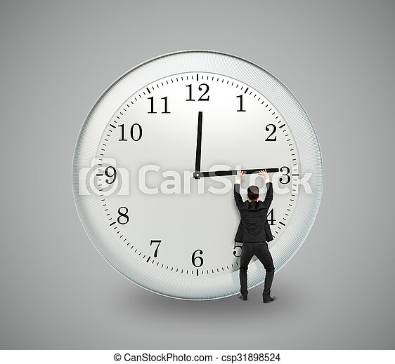 Businessman trying to stop the time, deadline concept