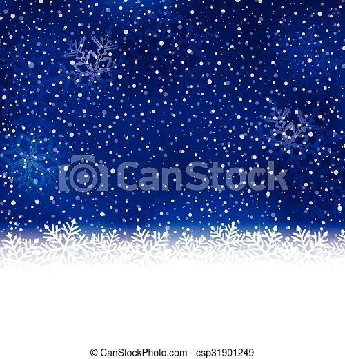 Blue white winter, Christmas background with snow flake border - csp31901249