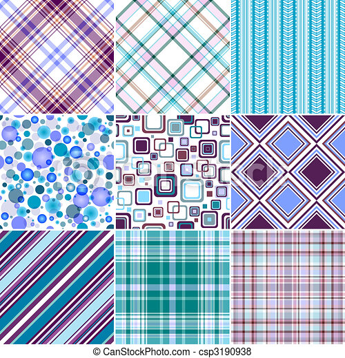 Set blue-lilas seamless patterns (vector, EPS 10) - csp3190938