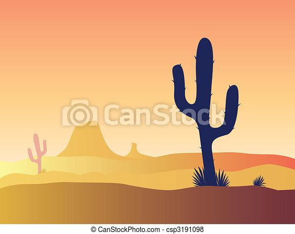 Cactus desert sunset - csp3191098