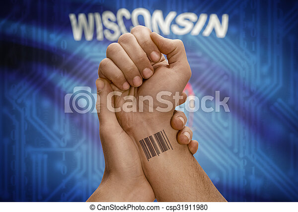 Barcode ID number on wrist of dark skinned person and USA states flags on background - Wisconsin - csp31911980