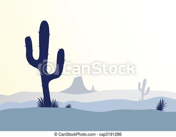 Cactus desert sunset - csp3191286