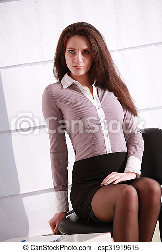 Stock Photography Of Sexy Secretary In Blouse And Mini