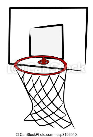 basketball net and back board - illustration - csp3192040