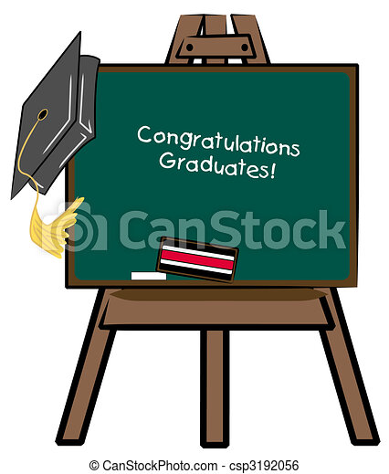 easel chalkboard with graduation cap - congratulations graduates - csp3192056