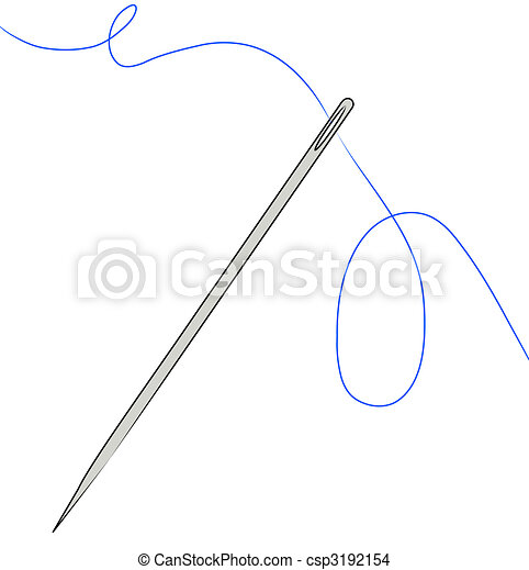 needle with blue thread strung through - csp3192154