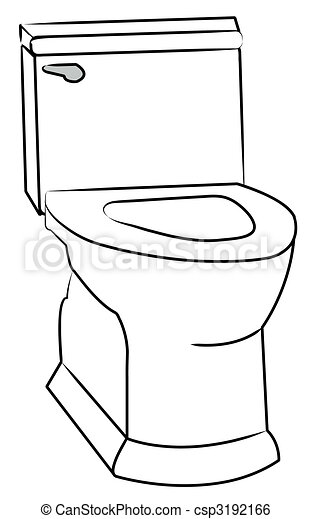 white toilet with the seat left open - csp3192166
