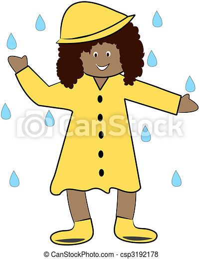 Illustration de manteau girl jouer pluie ethnique - Manteau dessin ...