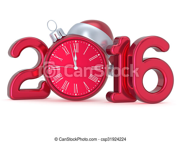 Clip Art of New Year s Eve 2016 Christmas ball alarm clock decoration