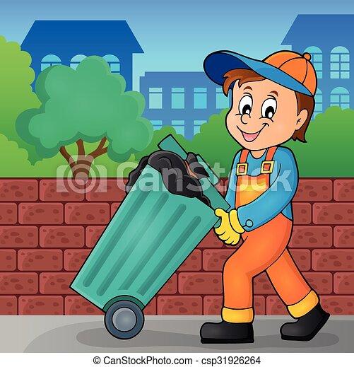 Clip Art Vector of Garbage collector theme image 2 - eps10 ...  Clip Art Vector...