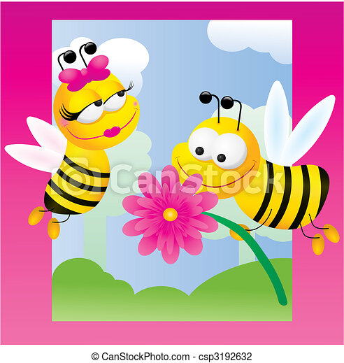 Bees relations, vector illustration on pink background - csp3192632