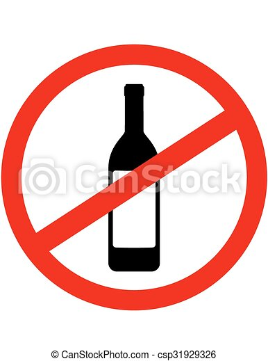 Vector Illustration of sign stop alcohol and wine bottle ...