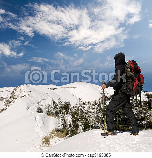 Man walk on snow lane - csp3193085